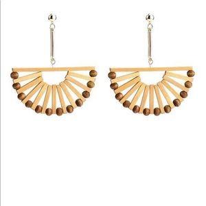 Bamboo Half moon statement earrings